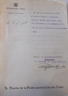 Orden de salida de prisión de Antonio Barrón